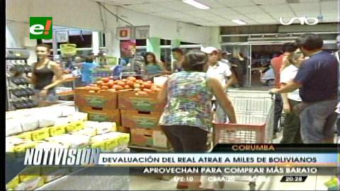 Devaluación del real brasilero atrae a miles de bolivianos en la frontera