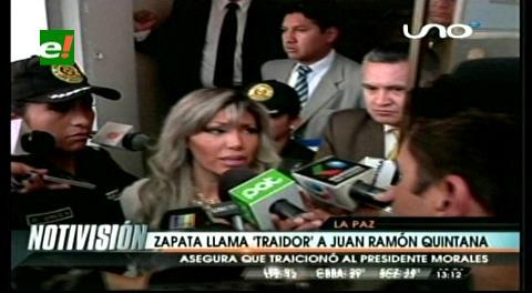 """Zapata llama """"traidor"""" al ministro Quintana"""
