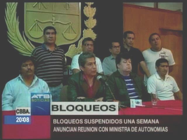 Bloqueos por límites en Cochabamba fueron suspendidos hasta el sábado
