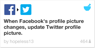 IFTTT Recipe: When Facebook's profile picture changes, update Twitter profile picture.