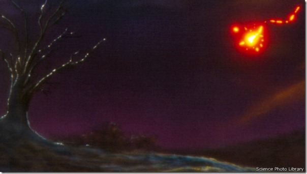 En esta representación gráfica se muestra un fenómeno lumínico parecido a lo que se denomina luces de terremoto