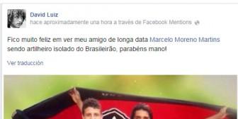 David Luiz felicita a Marcelo Martins en las redes sociales