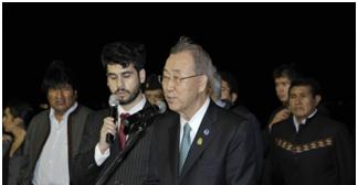 """Ban Ki moon: Evo Morales es """"símbolo del mundo en desarrollo"""""""
