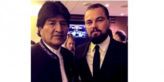 Evo Morales posa con Leonardo DiCaprio en la ONU