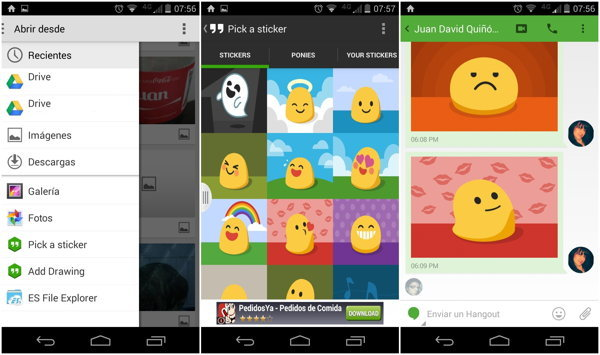 stickers hangouts android
