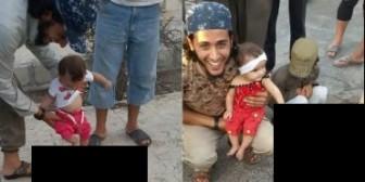 Isis: Escalofriante imagen de una bebé pateando la cabeza de un hombre decapitado