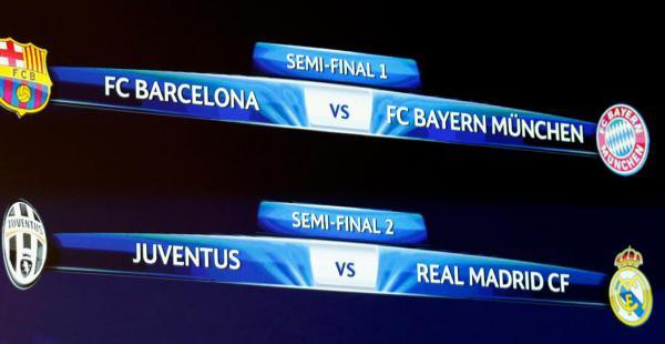 Así quedaron los emparejamientos de la semifinales de la Liga de Campeones tras el sorteo de este viernes