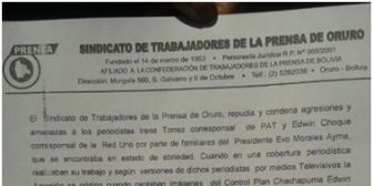 Condenan agresión a periodistas y conminan a Hugo Morales, hermano del Presidente, a disculparse