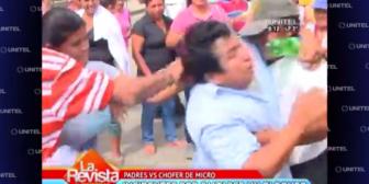 Santa Cruz: Padres de familia enfrentan a chofer de micro