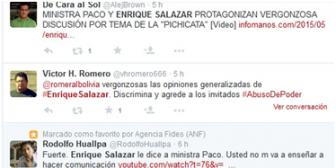Ola de críticas contra el presentador de Tv Enrique Salazar por polémica con la ministra Paco