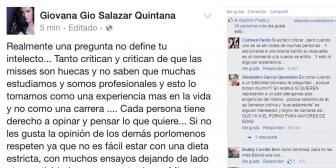 Miss La Paz está molesta con las críticas y se expresa en Facebook