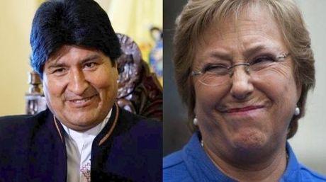 Evo Morales, presidente de Bolívia y Michelle Bachelet, presidenta de Chile | Foto Cortesía: El Comercio