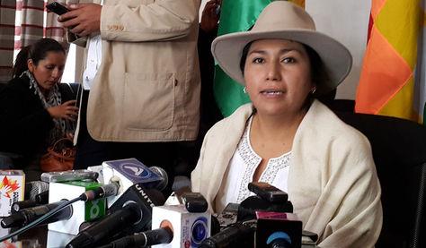 La minstra de Comunicación, Marianela Paco, en una pasada conferencia de prensa. Foto: La Razón Digital