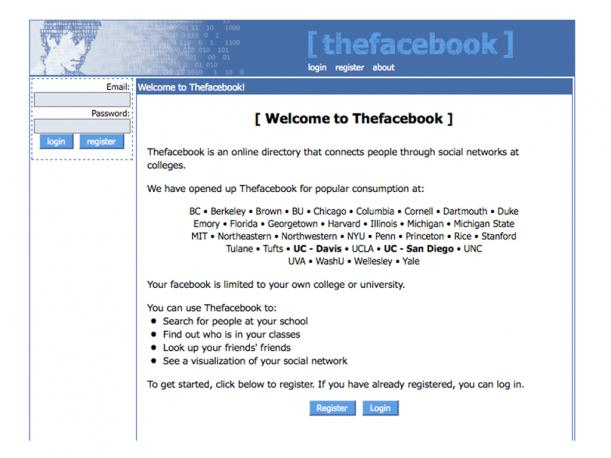 Así fue la primer página de Facebook, creada el 4 de febrero del 2004 por Mark Zuckerberg. (Foto: Archive.org)