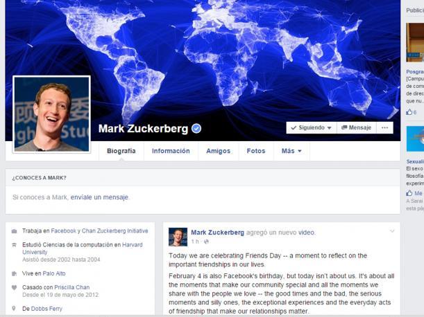 Así es como se ve Facebook en el 2016. Ha tenido varios cambios desde su creación el 2004. (Foto: Captura)