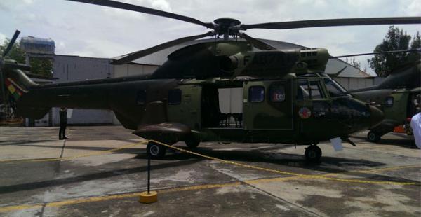 La Fuerza Aérea Boliviana recibió este viernes el tercer helicóptero Súper Puma, de los seis que compró Bolivia a Francia