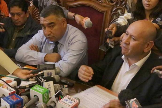 EJECUTIVOS. El presidente del directorio de FANCESA, Eduardo Rivero, y el gerente de la empresa, Herland Daza...