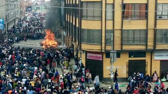 Destrozos en la Alcaldía de El Alto.   Foto archivo  - Los Tiempos    Usuario