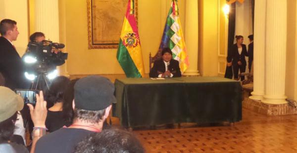 El presidente Morales ofreció la mañana de este lunes una conferencia de prensa