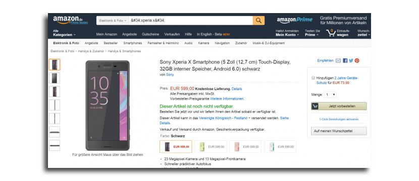 xperia x amazon Estos son los precios del Sony Xperia X y Xperia XA, disponible ya la preventa