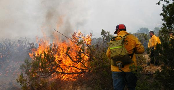 Bomberos voluntarios ayudan a controlar el fuego en las provincias