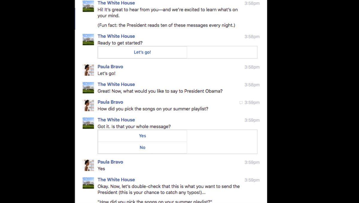 El bot del presidente Obama guía al usuario mientras envía el mensaje al presidente Obama. (Crédito: Facebook/ Paula Bravo)
