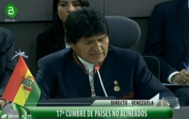 Evo propone en cumbre de No Alineados demandar a EEUU para que indemnice a Cuba por el bloqueo