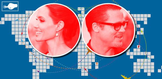 Interactivo: Vea aquí el mapa que demuestra que Brad y Angelina hacían vida por separado