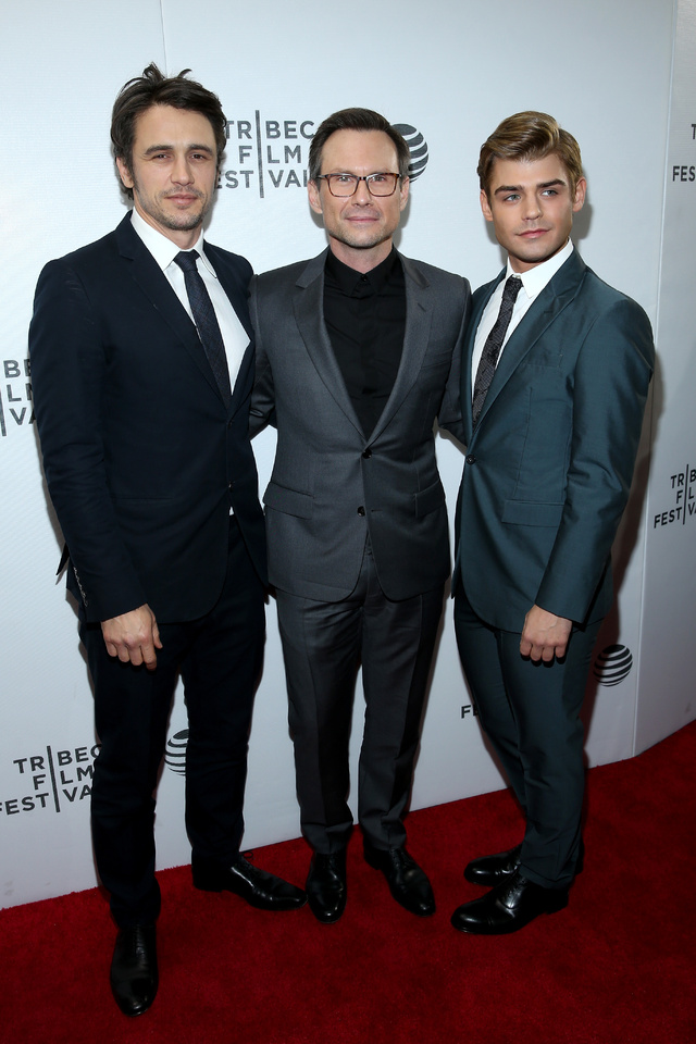 James Franco, Christian Slater y Garrett Clayton, durante el estreno de la película en Tribeca.