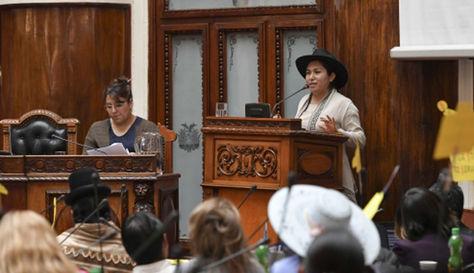 La ministra de Comunicación en Bolivia, Marianela Paco en su interpelación. Foto: ABI