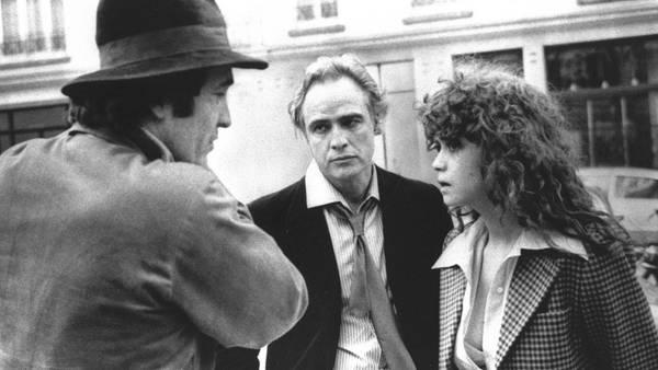 Bernardo Bertolucci, Marlon Brando y Maria Schneider durante la filmación de