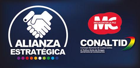 Conaltid y Megacenter firman acuerdo para prevención del consumo de drogas. Foto: www.conaltid.gob.bo