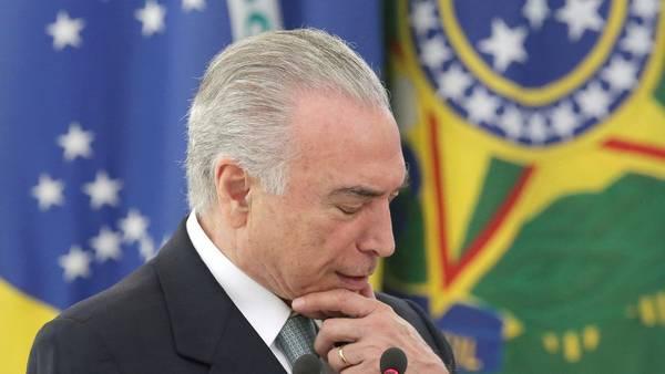 Complicado. El presidente brasileño, Michel Temer, acusado de pedir coimas al gigante de la construcción Odebrecht. /AP
