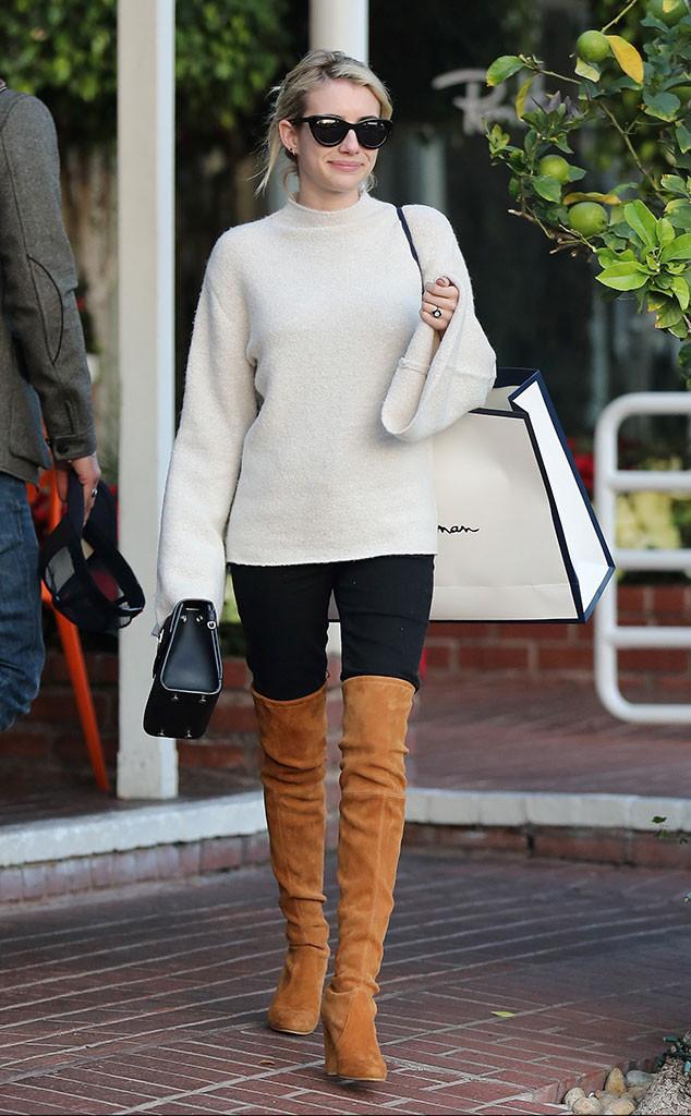 Celebs Holiday Shopping, Emma Roberts