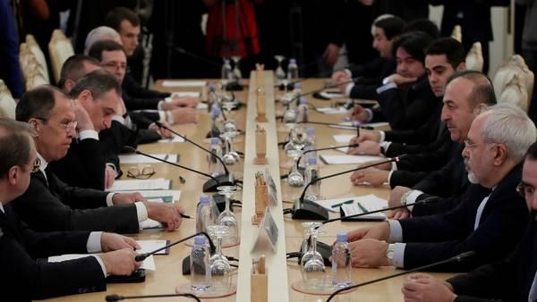 Discusión. Una vista de la cumbre de hoy en Moscú entre Rusia, Irán y Turquía sobre la posguerra siria (AP).