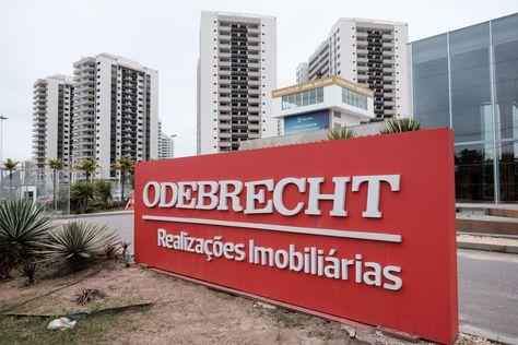 El logo de la empresa Odebretch en Río de Janeiro. Foto: AFP