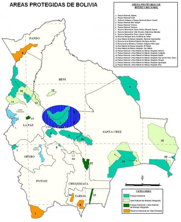 Mapa de áreas protegidas de Bolivia.