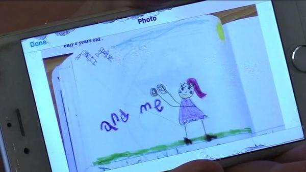 El dibujo que Shiraz trazó en su escuela y que las maestras reenviaron a su tía (Sun Sentinel video)