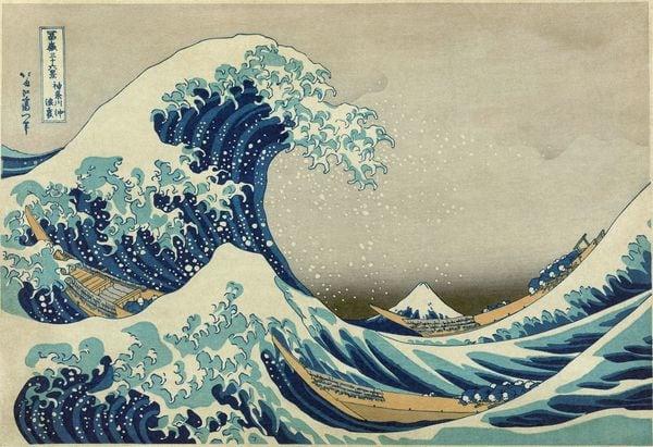"""""""La gran ola de Kanagawa"""" de Katsushika Hokusai. Al fondo, el monte Fuji"""