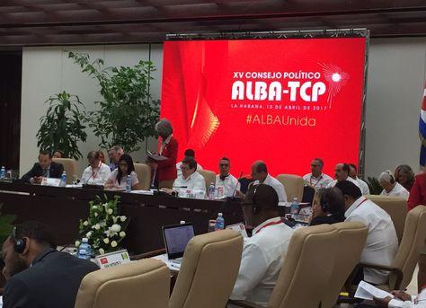 El XV Consejo Político de ALBA-TCP que sesiona en La Habana, Cuba, este lunes.