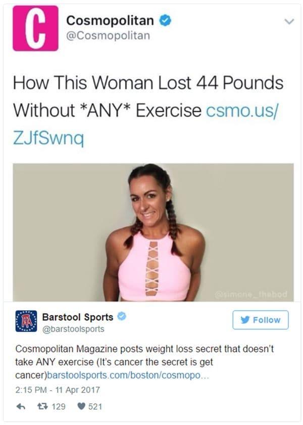 El tuit de Cosmopolitan que causó indignación en las redes sociales (Twitter)