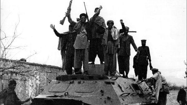 Los muyahidines luchaban contra la unión soviética con apoyo estadounidense, abril 1980