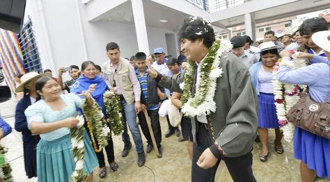 El presidente Evo Morales entrega nueva unidad educativa San Francisco, en el municipio de Villa Tunari, Cochabamba.