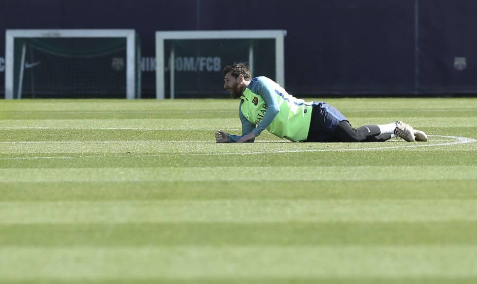 Messi, en el entrenamiento previo al clásico.