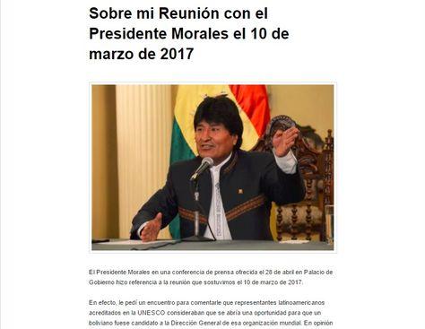 La réplica que publicó Carlos Mesa sobre las afirmaciones del presidente Evo Morales.