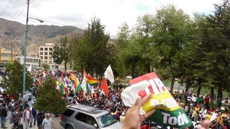 La VIII marcha indígena en defensa del TIPNIS en La Paz.