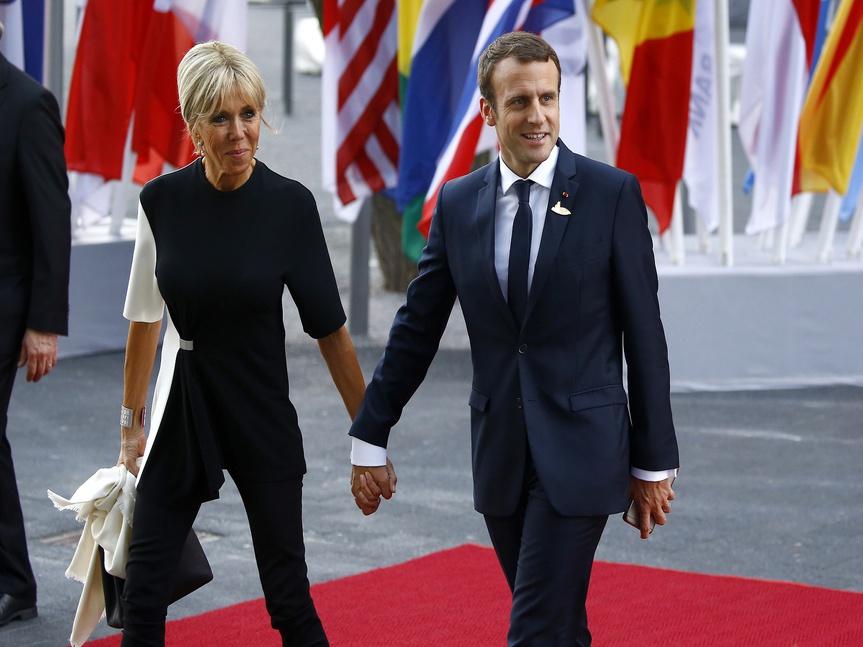 Brigitte Macron con su marido, el presidente francés Emmanuel Macron