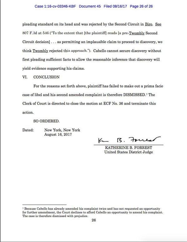 El fallo de la Corte del distrito sur de Nueva York que desestimó la demanda de Cabello