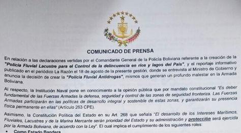Parte del comunicado que difundió la Armada Boliviana para referirse a la Policía Fluvial.