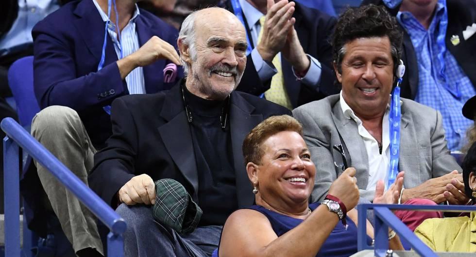 Sean Connery , en el partido qye enfrentó a Roger Federer con Frances Tiafoe.